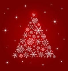 christmas tree design of snowflake vector image vector image