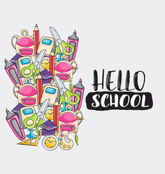 hello school doodle clip art greeting card vector image