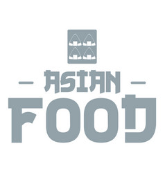 menu asian food logo simple gray style vector image