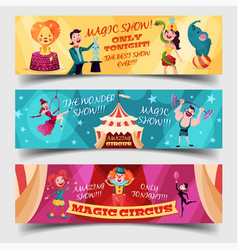 set of isolated circus cards with clown magician vector image