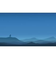 Silhouette of far lion in desert vector image vector image