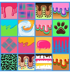 Colored seamless pattern drips background set vector image vector image