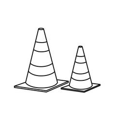 cones caution sign icon vector image