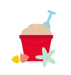 Cute beautiful Sand pail isolated on white vector image