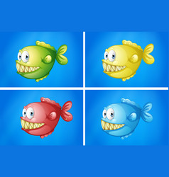 fish in four colors vector image vector image