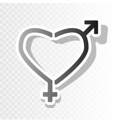 gender signs in heart shape new year vector image vector image