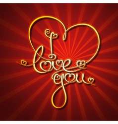 Glamorous Gold I Love You vector image vector image
