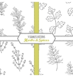 Hand drawn seamless patterns collection with vector image vector image
