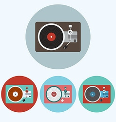 Record Player colorful icon set vector image vector image