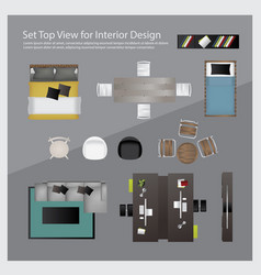 set top view for interior design isolated vector image