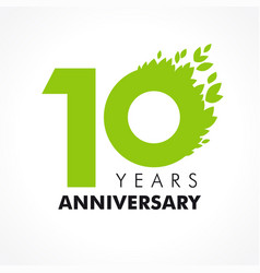 10 anniversary leaves logo vector