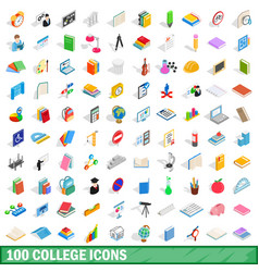 100 college icons set isometric 3d style vector image
