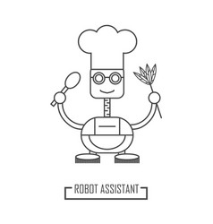 a robot cook robotic assistant in vector image