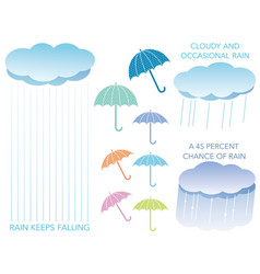 a set of assorted regarding the rain vector image