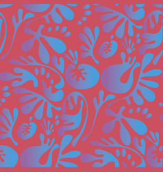 Abstract fantasy tropical colors floral motif vector