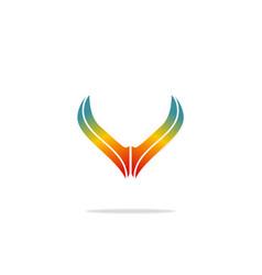 Abstract wing rainbow logo vector