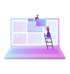 Archive managing online digital database concept vector
