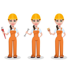 Beautiful female builder in uniform vector