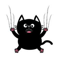Black fat cat nail claw scratch glass cute vector