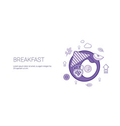 breakfast morning meal template web banner with vector image