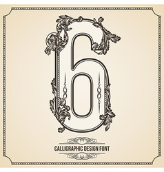 Calligraphic font number 6 vector