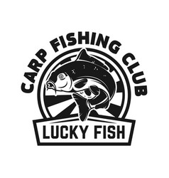 carp fishing club emblem template with carp vector image