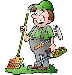 Cartoon an happy gardener vector