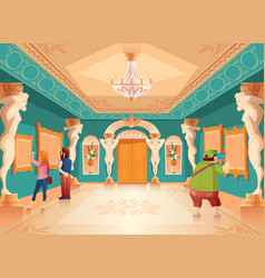 Cartoon museum exhibition with pictures vector