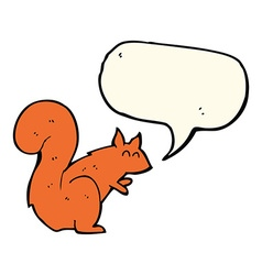 Cartoon red squirrel with speech bubble vector