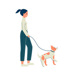 cartoon woman walking her dog isolated on white vector image