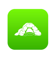 Cave icon green vector