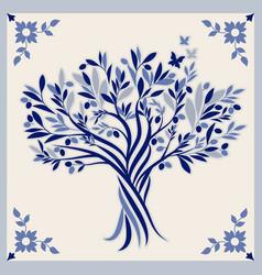 Ceramic tile olive tree hand drawn vector