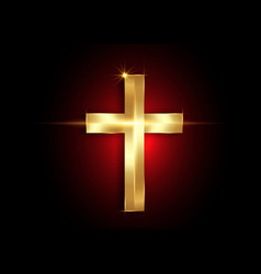 christianity symbol golden cross icon vector image