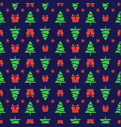 christmas pattern with tree gifts vector image