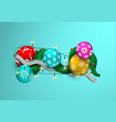 christmas realistic 3d lights and bauble ornament vector image