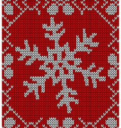 Christmas snowflake knitting pattern vector