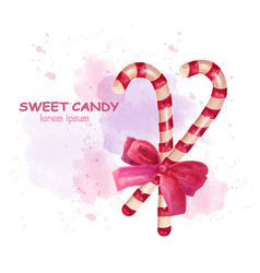 Christmas sticks candy watercolor candies vector