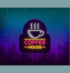 Coffee neon signboard logo glowing emblem vector