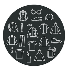 Collection of Mens Clothes and Accessories vector