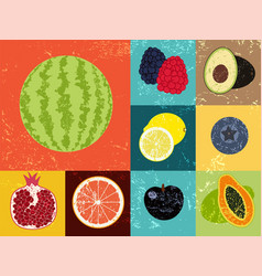 collection of pop art grunge retro fruits poster vector image