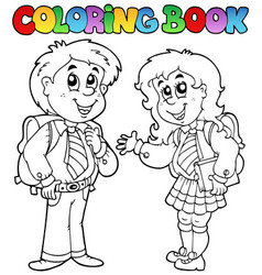 Coloring book with two students vector