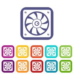 Computer fan icons set flat vector