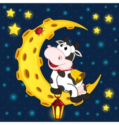 cow and ladybug on moon vector image