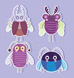 Cute bugs insects animal in cartoon style stickers vector