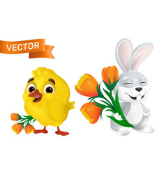 cute happy easter bunny and sweet bachick vector image