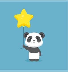 Cute panda holding balloon free vector