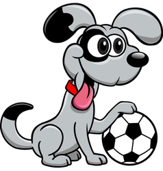 Dog with soccer ball vector image