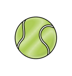Drawing tennis ball sport competition element vector