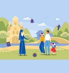 eastern orthodox christians talking to presbyter vector image