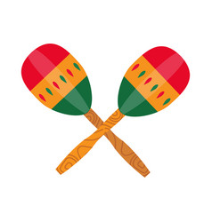 Ethnic mexican maraca music instrument in flat vector